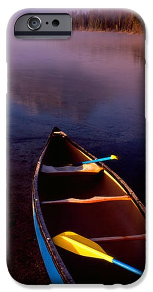 Canoe iPhone Cases - Canoe In Lake In Front Of Mountains iPhone Case by Panoramic Images