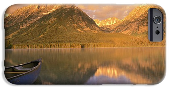 Canoe iPhone Cases - Canoe Leigh Lake Grand Teton National iPhone Case by Panoramic Images