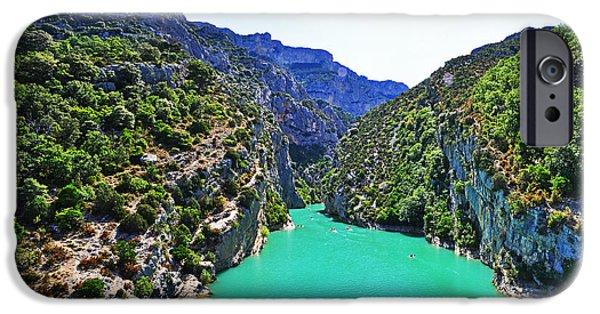 River View Pyrography iPhone Cases - Canyon de Verdon iPhone Case by Steffen Schumann
