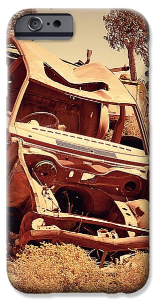 Cars Pyrography iPhone Cases - Rusted car iPhone Case by Girish J