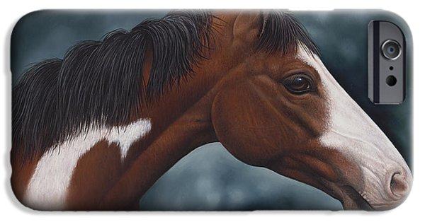 Quarter Horses iPhone Cases - Cara Blanca iPhone Case by Ricardo Chavez-Mendez