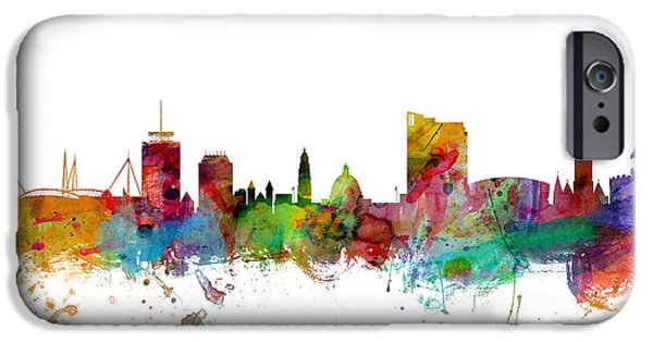 Wales iPhone Cases - Cardiff Wales Skyline iPhone Case by Michael Tompsett