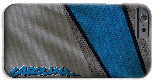 Panther iPhone Cases - Carolina Panthers Uniform iPhone Case by Joe Hamilton