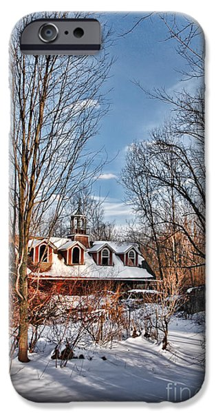 Carriages iPhone Cases - Carriage House in Snow iPhone Case by HD Connelly