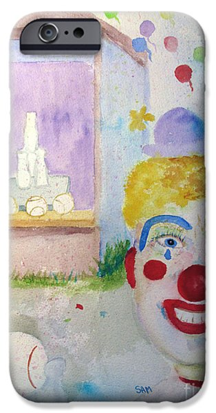 Softball Paintings iPhone Cases - Carrie the Clown iPhone Case by Sandy McIntire
