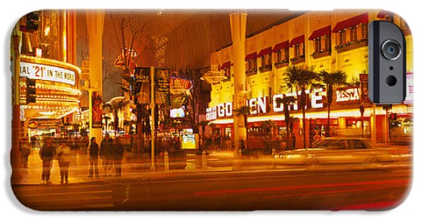 Crosswalk iPhone Cases - Casino Lit Up At Night, Fremont Street iPhone Case by Panoramic Images