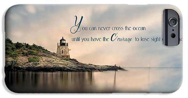 New England Lighthouse iPhone Cases - Castle Hill Light iPhone Case by Robin-lee Vieira