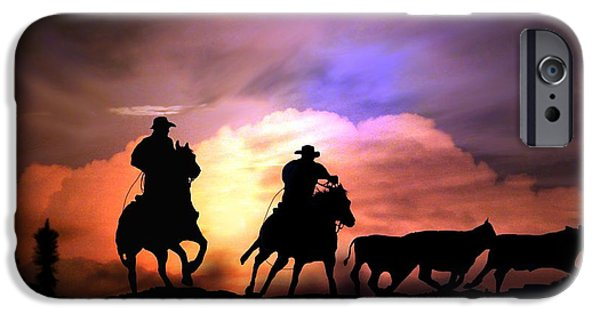 Roping Horse iPhone Cases - Cattle Drive iPhone Case by Stephanie Laird