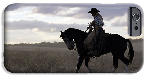 American Quarter Horse iPhone Cases - Cattleman With Paint Horse iPhone Case by M. Watson
