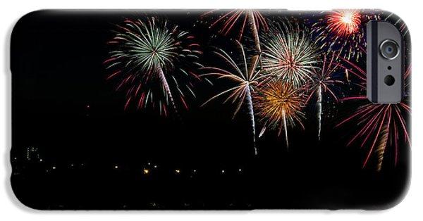 Fireworks Pyrography iPhone Cases - Celebration iPhone Case by Shirley Tinkham