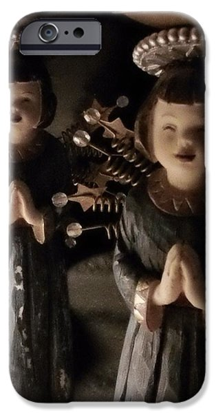 Asian Sculptures iPhone Cases - Ceramic Metal  Asian Angel Figurine-Candle Holder iPhone Case by Thelma Harcum