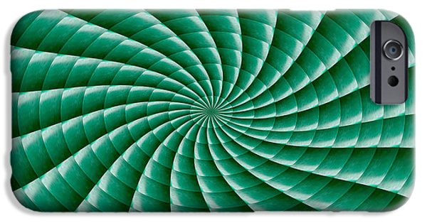 Stripes iPhone Cases - Chakra Wave Fan Movement Radial Round Wheel Match Wall Art Theme Green artist created green shade st iPhone Case by Navin Joshi