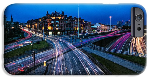 Sunset Prints iPhone Cases - Charing Cross Glasgow iPhone Case by John Farnan