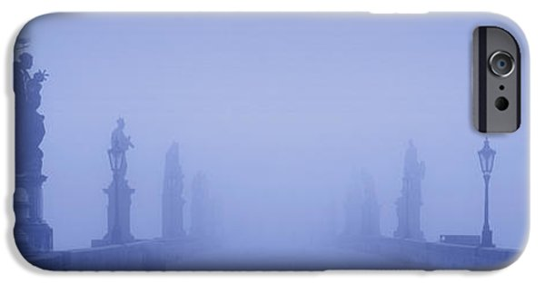 Eerie iPhone Cases - Charles Bridge In Fog, Prague, Czech iPhone Case by Panoramic Images