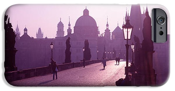 Mist iPhone Cases - Charles Bridge Moldau River Prague iPhone Case by Panoramic Images
