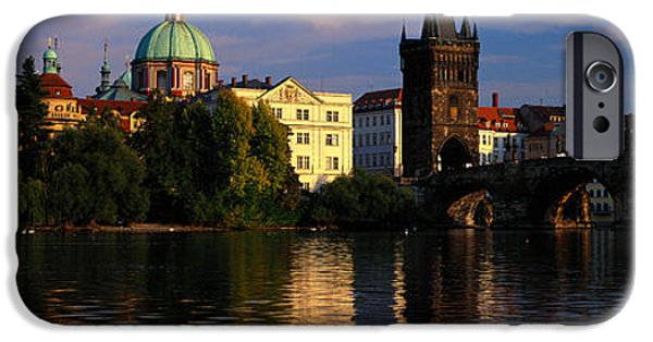 Charles River iPhone Cases - Charles Bridge Vltava River Prague iPhone Case by Panoramic Images