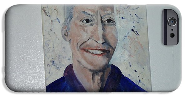 Charlie Watts iPhone Cases - Charlie Watts iPhone Case by Garry Pedros
