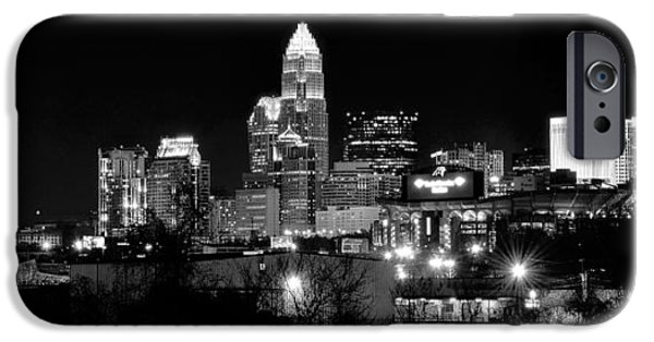 Charlotte iPhone Cases - Charlotte Panoramic in Black and White iPhone Case by Frozen in Time Fine Art Photography