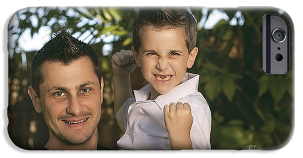 Bonding iPhone Cases - Cheering child and man bonding on fathers day iPhone Case by Ryan Jorgensen