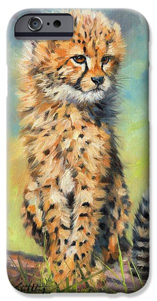 Young Paintings iPhone Cases - Cheetah Cub iPhone Case by David Stribbling
