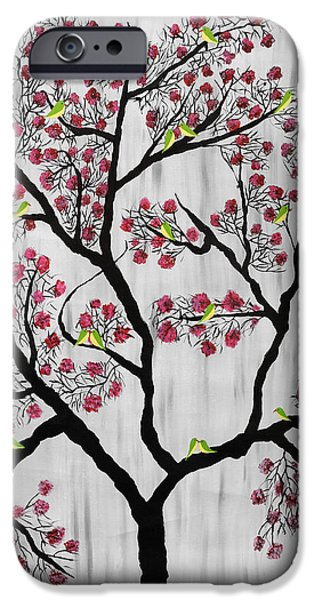 Tree Roots Paintings iPhone Cases - Cherry Blossom iPhone Case by Sumit Mehndiratta