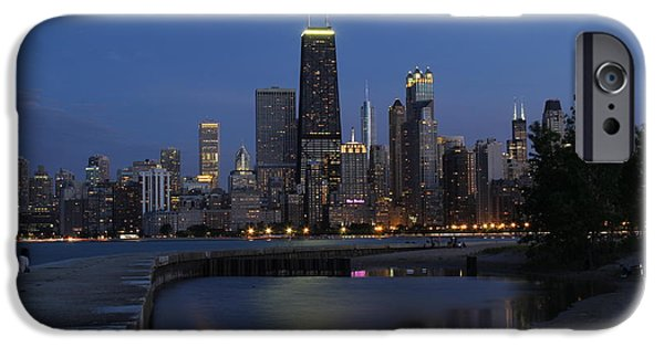 Summer iPhone Cases - Chicago north side at dusk iPhone Case by Michael Paskvan