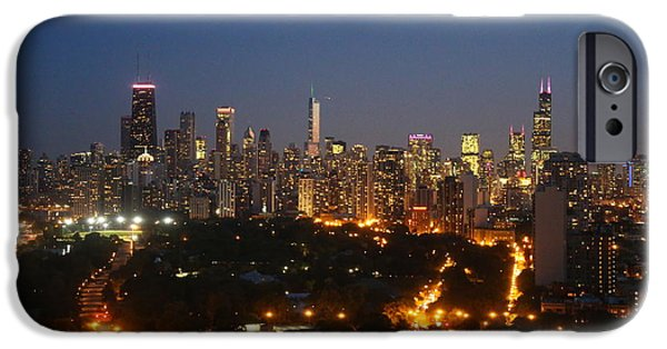 Willis Tower iPhone Cases - Chicago at night iPhone Case by Michael Paskvan