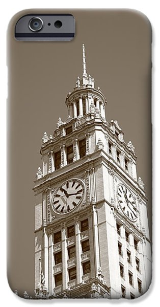 Wrigley iPhone Cases - Chicago Clock Tower iPhone Case by Frank Romeo