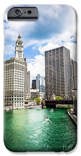 Wrigley iPhone Cases - Chicago Downtown at Michigan Avenue Bridge Picture iPhone Case by Paul Velgos