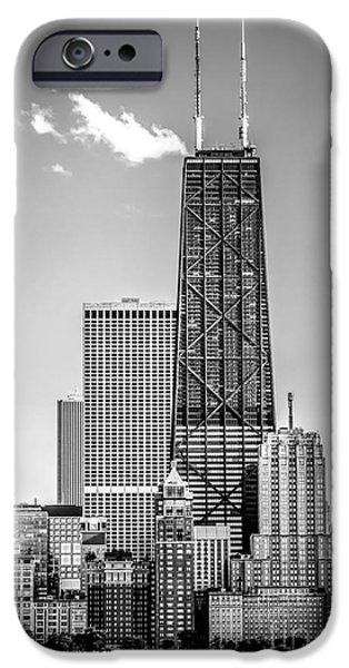 Hancock Building iPhone Cases - Chicago Hancock Building Black and White Picture iPhone Case by Paul Velgos