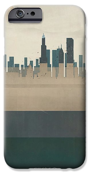 Chicago Paintings iPhone Cases - Chicago Illinois Skyline iPhone Case by Bri Buckley
