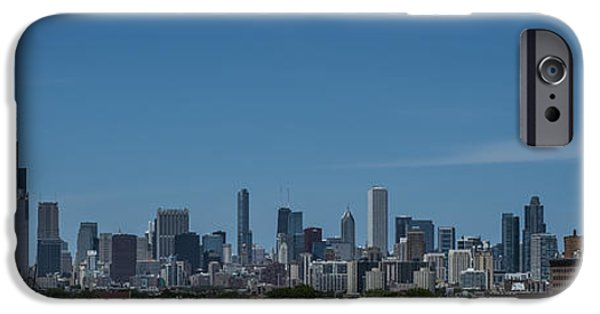 Chicago Cubs iPhone Cases - Chicago Illinois Skyline Panoramic iPhone Case by David Haskett