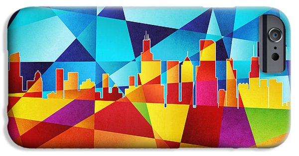 """geometric Abstract"" iPhone Cases - Chicago Illinois Skyline iPhone Case by Michael Tompsett"