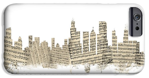 Sears Tower iPhone Cases - Chicago Illinois Skyline Sheet Music Cityscape iPhone Case by Michael Tompsett
