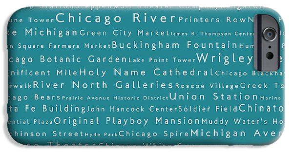 Wrigley Field iPhone Cases - Chicago in Words Teal iPhone Case by Sabine Jacobs