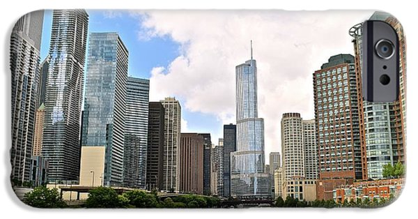 Wrigley iPhone Cases - Chicago Panorama iPhone Case by Frozen in Time Fine Art Photography