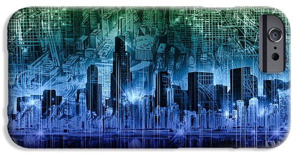 Willis Tower iPhone Cases - Chicago Skyline Abstract iPhone Case by MB Art factory