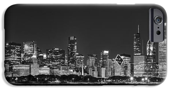 Hancock Building iPhone Cases - Chicago Skyline at Night Black and White Panoramic iPhone Case by Adam Romanowicz