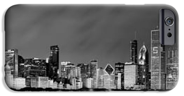 Navy iPhone Cases - Chicago Skyline at Night in Black and White iPhone Case by Sebastian Musial