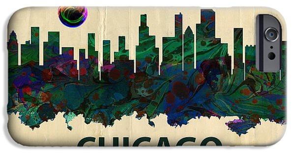 Chicago Bulls Mixed Media iPhone Cases - Chicago Skylines iPhone Case by MotionAge Designs