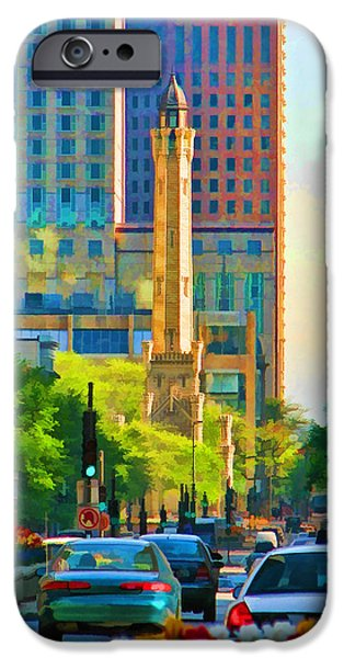 Chicago Paintings iPhone Cases - Chicago Water Tower Beacon iPhone Case by Christopher Arndt