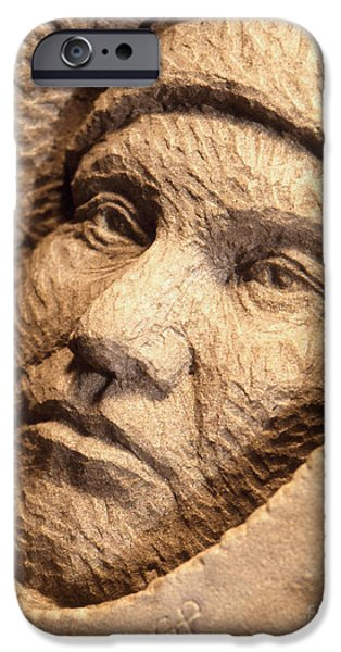 Native Sculptures iPhone Cases - Chief-Joseph iPhone Case by Gordon Punt