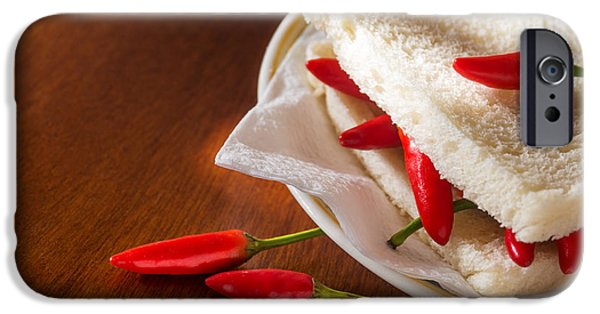 Chili iPhone Cases - Chili pepper Sandwich iPhone Case by Carlos Caetano
