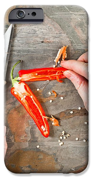 Chilli iPhone Cases - Chilli pepper iPhone Case by Tom Gowanlock
