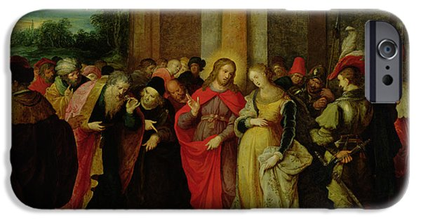 Young Paintings iPhone Cases - Christ and the Woman Taken in Adultery iPhone Case by Frans II the Younger Francken