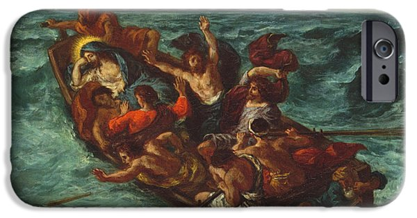 Delacroix iPhone Cases - Christ Asleep during the Tempest iPhone Case by Eugene Delacroix