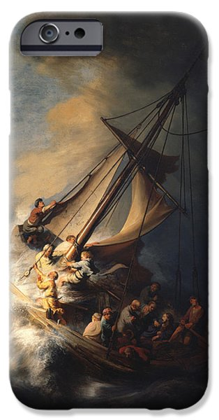 Storm Drawings iPhone Cases - Christ In The Storm On The Sea Of Galilee iPhone Case by Rembrandt Van Rijn