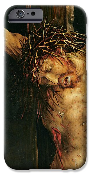 Crown iPhone Cases - Christ on the Cross iPhone Case by Matthias Grunewald