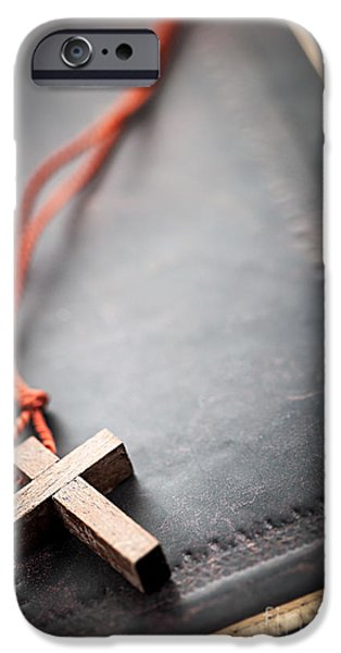 Psalm iPhone Cases - Christian Cross on Bible iPhone Case by Elena Elisseeva