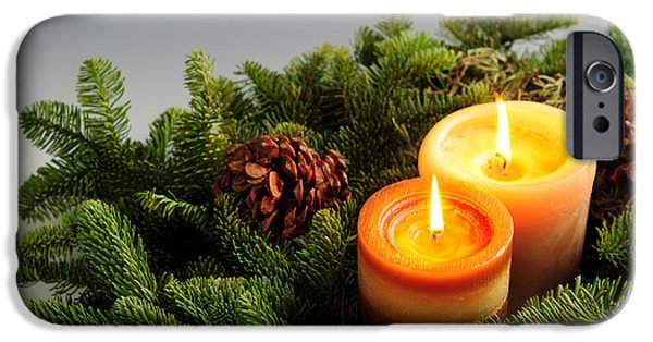 Wreath iPhone Cases - Christmas candles iPhone Case by Elena Elisseeva